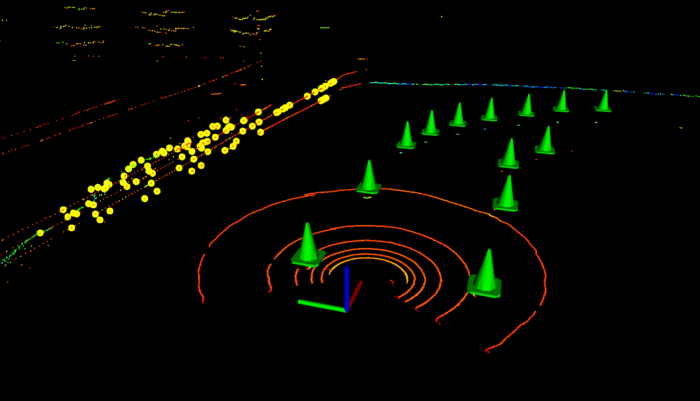 Barriers on the side of the track removed by euclidean clustering and nearest neighbour filter