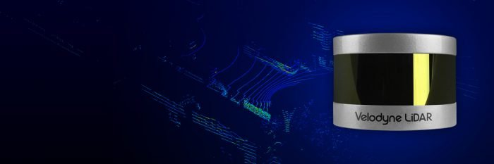 Close up of Velodyne VLP-16 LITE and point cloud displaying data from the LiDAR scanner.