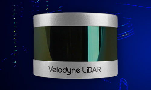 Close up of Velodyne VLP-16 HiRes and point cloud displaying data from the LiDAR sensor.