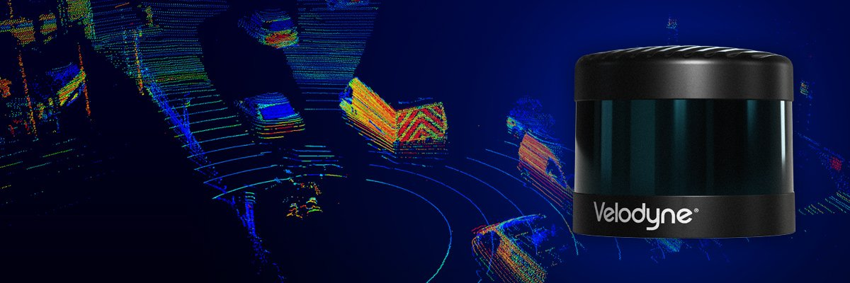 Close up of Velodyne VLS-128 and point cloud of busy street displaying 7 vehicles.