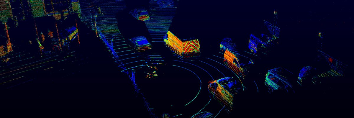 Point cloud of busy road with numerous cars captured by Velodyne LiDAR sensor.