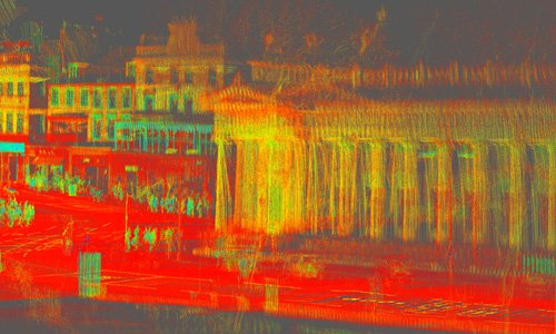 Bright red, green and orange point cloud of Edinburgh city centre processed with Routescene LidarViewer.