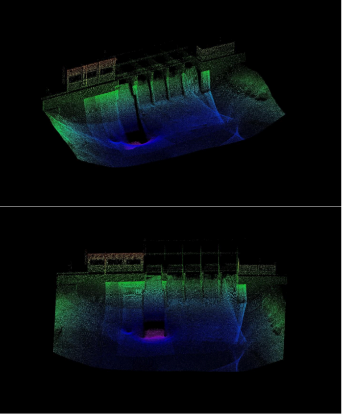 Lessoc Dam combination of LiDAR and multibeam data